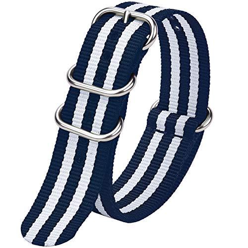 Fullmosa Zulu 18mm 20mm 22mm 24mm Bracelet Montre Homme Femme, 10 Couleurs Montre Bracelet Nylon à Rayure Fermoir Métal Réglable, Bleu + Blanc Ivoire 18mm