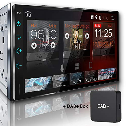Tristan Auron BT2D7018A Autoradio mit Navi + DAB+ Box, 7'' Touchscreen Bildschirm, Android 8.1, GPS Navi, Bluetooth Freisprecheinrichtung, Quad Core, MirrorLink, USB/SD, OBD 2, DAB+, 2 DIN