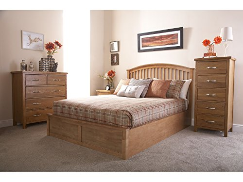 Como Wooden Ottoman Storage Bed - Oak or White - 4ft6 Double or 5ft Kingsize (Oak, Double 4ft6)