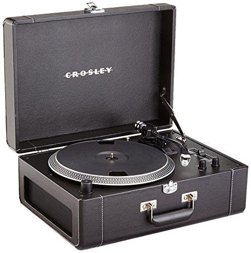 Crosley Keepsake Deluxe USB Plattenspieler Tragbar im Koffer-Design mit Zwei Geschwindigkeiten und Stereo-Lautsprechern (mit EU-Netzstecker) - Schwarz