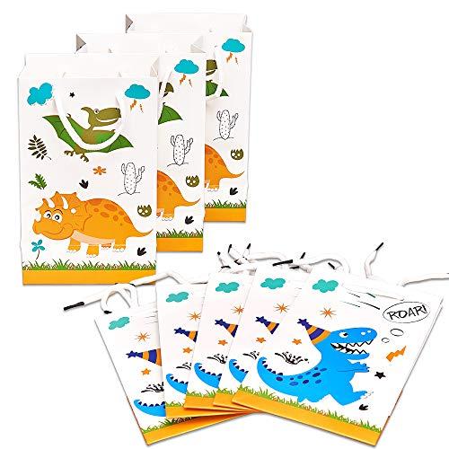 WERNNSAI Dinosaurier-Geschenktüte - 16 Pack Papier Party Taschen für Kinder Jungen Geburtstag BabyduschePartyzubehör Favor Treat Goodie Taschen mit Griff (Party-taschen Kinder Für)