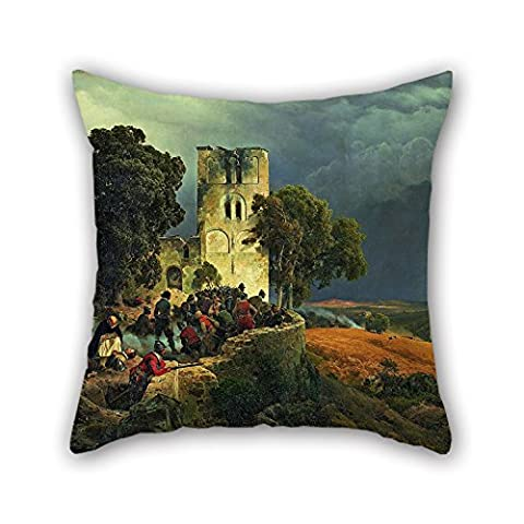 Uloveme Cushion Covers 20 X 20 Inches / 50 By 50 Cm(twin Sides) Nice Choice For Outdoor,father,divan,birthday,husband,wedding Oil Painting Carl Friedrich Lessing - The Siege (Defense Of A Church