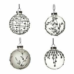 Heaven Sends - Set di 4 palle di Natale in vetro smerigliato, 7 cm