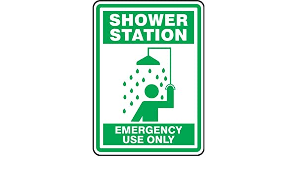 14 Length x 10 Width x 0.004 Thickness Green on White LegendSHOWER STATION EMERGENCY USE ONLY with Graphic Accuform MFSD525VS Adhesive Vinyl Safety Sign