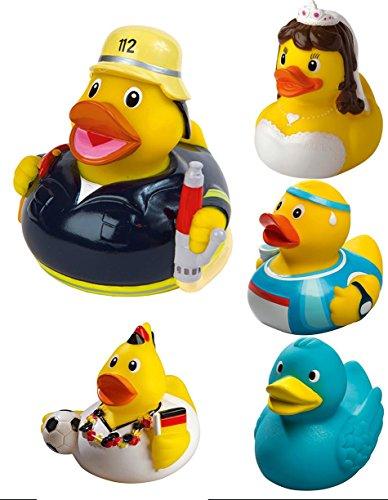 Quietsche-Ente Badewannenente Gummiente Badeente in vielen lustigen Designs Farbe Schrauber Größe 80 mm