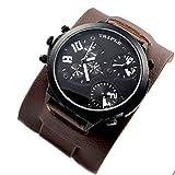 XXL Herrenuhr Triple Time Schwarz Braun Weiss, Retro, Chrono Look Design, U-Boot, Uhr jb-580
