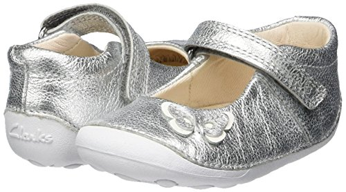 Clarks Baby-Girls Little Mia Crawling Shoes, Silver (Silver Leather), 3.5 UK