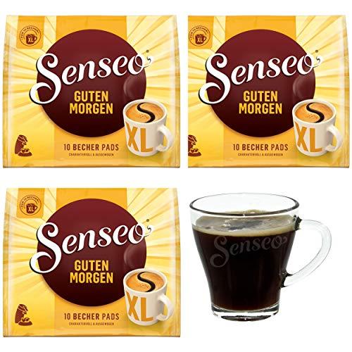 Senseo Kaffeepads Guten Morgen XL, 3er Pack, Stark & Intensiv, Kaffee Pads, je 10 Pads, mit Tasse
