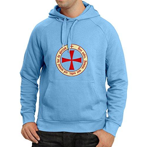 Kapuzenpullover Tempelritter Templer Orden T-Shirt (Knights Templar) für Herren mit Tatzenkreuz Ordo Red (Large Blau (Kostüme Bibel Erwachsene Für)