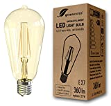 greenandco® Vintage Glühfaden LED Lampe Edison Form im Retro Design flimmerfrei ersetzt 32W E27 ST64 4.2W 360lm 2200K extra warmweiß 360° 230V nicht dimmbar 2 Jahre Garantie