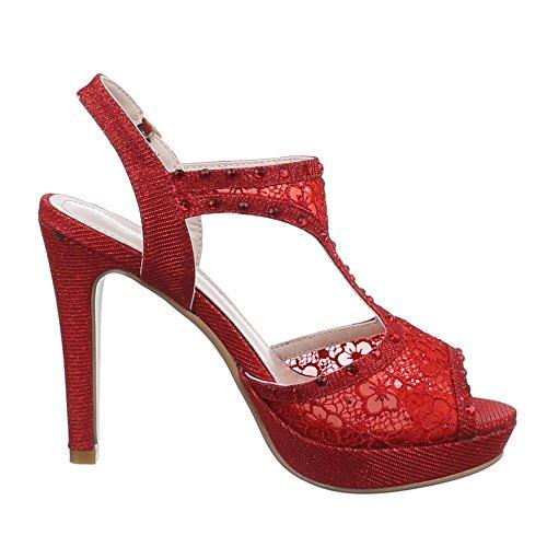 Ital-Design , Sandales femme Rouge - Rouge