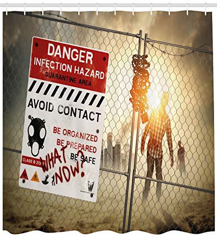 ABAKUHAUS Duschvorhang, Toter Mann Walking Dead Zombie Gefahr Angst Scene Fiction Halloween infektion Bild Muster Druck, Wasser und Blickdicht aus Stoff mit 12 Ringen Bakterie Resistent, 175 X 200 ()