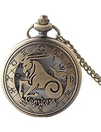 Maybesky Creative Hollow FILP Vintage Reloj de Bolsillo Bronce con Cadena Caja de Regalo para cumpleaños Aniversario día Nav