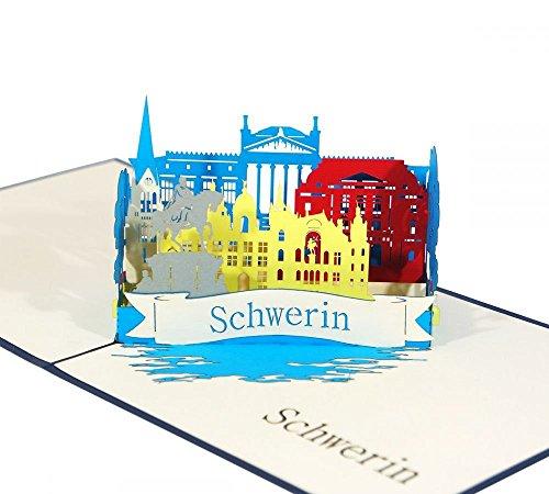 Schwerin - Klappkarte / 3D Pop-Up Karte - Reise-Gutschein, Grußkarte, Geburtstagskarte, Geldgeschenk, Glückwunschkarte, Gutschein-Karte, Urlaubskarte, Dankeskarte, Geschenkkarte, Andenken, Souvenir