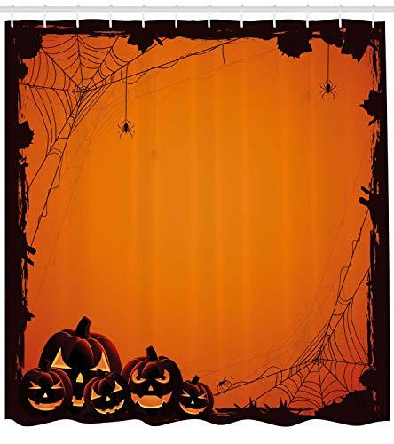 ABAKUHAUS Orange Duschvorhang, Halloween Kürbis Scary, mit 12 Ringe Set Wasserdicht Stielvoll Modern Farbfest und Schimmel Resistent, 175x240 cm, Siegel Braun Orange
