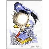 Original Feder und Aquarell auf Aquarellkarton: Donald Duck from rear / 24x32 cm