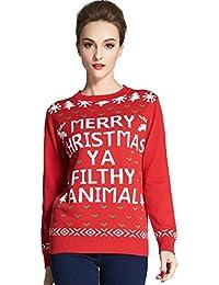 53c4726289b3 Camii Mia Damen Weihnachten Pullover Weihnachtspullover Strickpullover  Sweatshirt Rundhalsausschnitt Sweater Pulli mit Merry Christmas