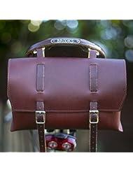 Grande sacoche de vélo de selle/sac de guidon/cadre en merisier Cuir Marron classique Sac
