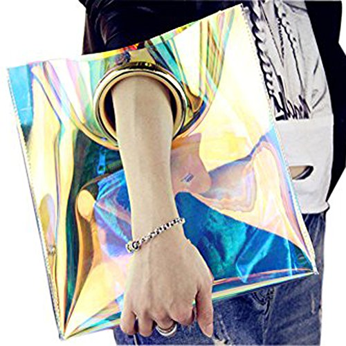 GZHOUSE Women New Sommer transparent Beach Tote Bag PVC Bling Laser Handtasche mit Metall Ring handle (Laser) (Tote Bag New-handtaschen)