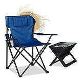 Relaxdays Campingstuhl, Rückenlehne, Armlehnen, Getränkehalter, Polster, Tragetasche, H x B x T: 80 x 79 x 50 cm, blau