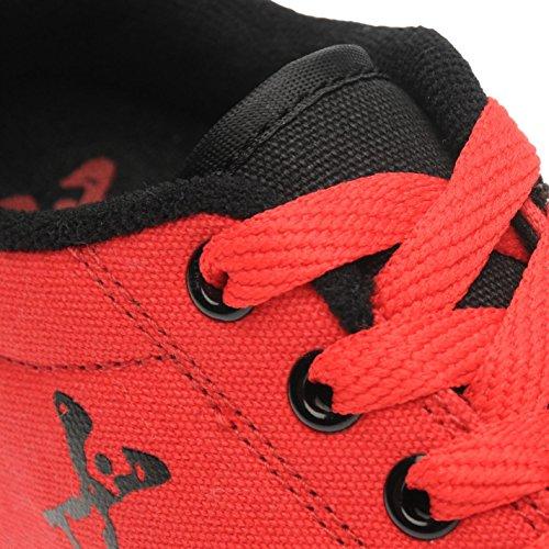 Sidewalk Roller Enfant Garçons Toile Chaussures Baskets À Roulettes Sneakers Noir/Rouge