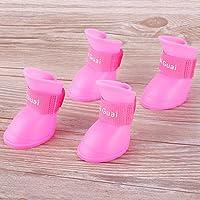 RUNGAO 4Pcs Pet Dog Rain Shoes Dogs Waterproof Rubber Booties Durable Cat Shoes