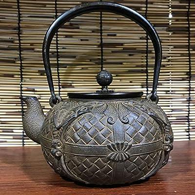 Théière en fonte bouilloire pot de fer enduit de fonte pot en fonte pot en fonte Japon du sud en fonte pot en fonte pot de feu maison 1.2L