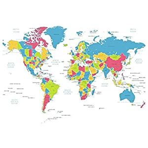 Cortina de ducha de mapa del mundo MyLifeUNIT 182,88 cm de 182,88 cm