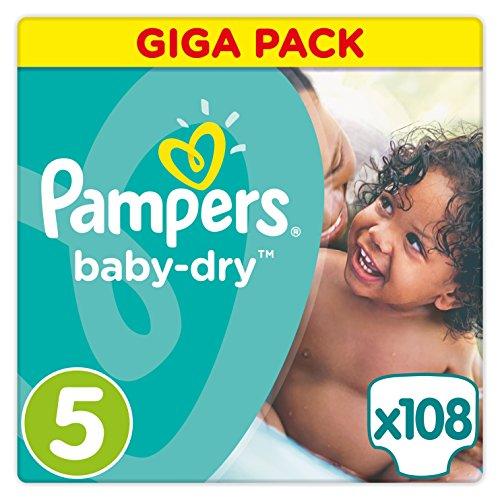 Pampers Baby-Dry Windeln, Gr. 5 (11–23kg), 1er pack (1 x 108 Stück)