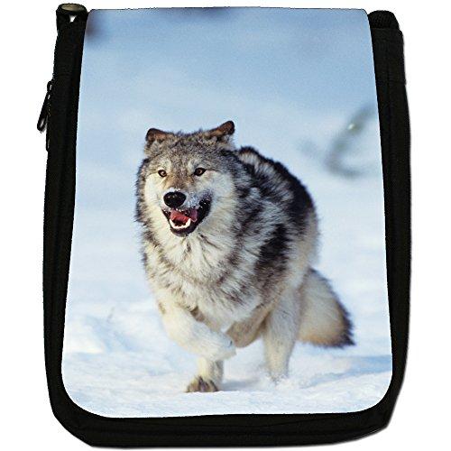 Lupo Lupi Medium Nero Borsa In Tela, taglia M Wolf Running In Snow