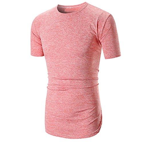 Herren Shirt, Sommer Casual Einfarbige Rundhalsausschnitt Slim Fit Verschiedene Tee Kurzarm T-Shirt Sportswear Sweatshirt Tanktop (XL, Rosa)