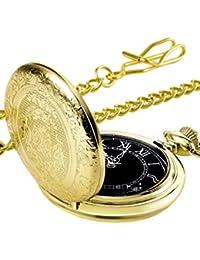 Reloj de Bolsillo de Cuarzo para Hombres con Esfera Negra y Cadena (Dorado)