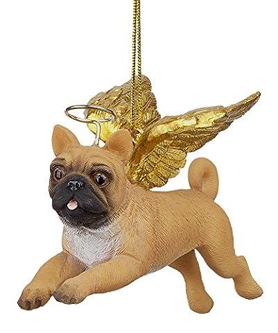 Design Toscano JH170724 Décoration de fête ange chien carlin Multicolore 4 x 9 x 7,5 cm