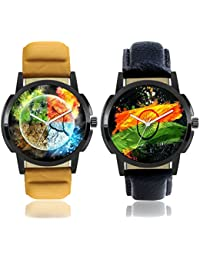 Freny Exim Casual Analog Newest Arrivals Combo Of 2 Latest Multicolour Dial Soft Leather Belt Watches For Boys...