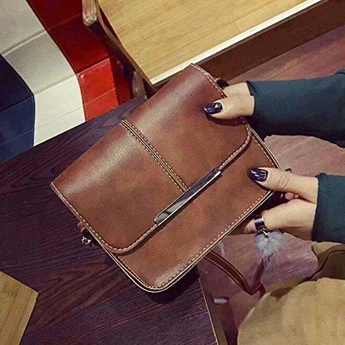 Longra Donne singola spalla obliqua cellulare borsa portafoglio di moda Marrone