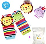 Deardeer 4 x Baby Infant Animal Rattles Toys Wrist Bands & Foot Socks Soft Hands Foots Finders Developmental Toys