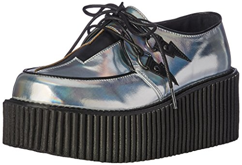 Demonia Women's Creeper-218 Cre218/Shg-Bvl Fashion Sneaker, Silver
