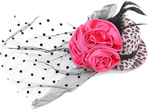 Fake Kopfbedeckung Für Das Kostüm (Edles Burlesque ROSES Feather PINK LEO ZYLINDER Headpiece Hut Rockabilly -)