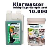 AQUALITY Klarwasser Teichpflege-Sparset 10.000 (GRATIS Lieferung innerhalb Deutschlands - Das perfekte Pflege-Set für einen schönen und klaren Gartenteich. Teichklärer + Wasserwerte Stabilisator - schnelle und nachhaltige Wirkung)