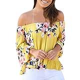 FORH Mode Damen Erogenous Floral Drucken Hemd Beiläufig Bootshals Bluse Flare Hülse Trägerlos Tops (S, Gelb)