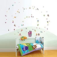 COM-Angel Castle WS3022 + Alphabet WS3012 Walplus Wallstickers Kid Angel Princess Castle Alphabet Girls Wall Sticker Children Decal Mural Paper, Mixed Colour preiswert