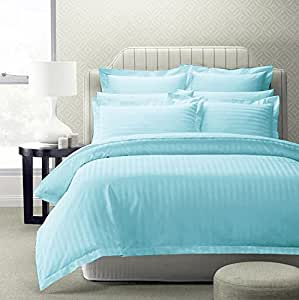 Story@Home Forever XL 1 Pc Collection 300 TC 100% Cotton Sateen Double King Size Bedsheet with 2 Pillow Covers Plain Platinum Superior Elegant Solid Stripes Blue