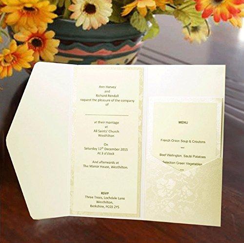 Inari orizzontale Pocketfold inviti Avorio Pizzo con motivo floreale, stile Vintage, cartoncini e buste e inserti X