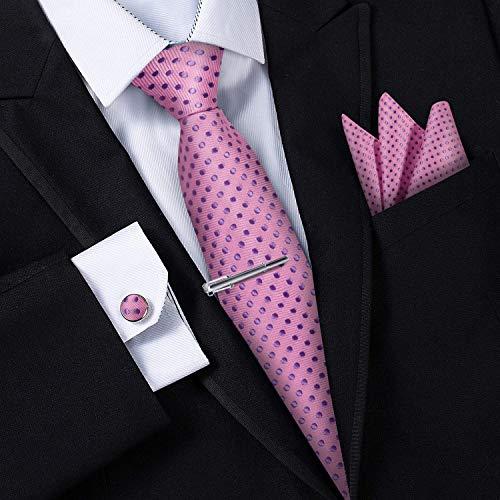 Corbatas para Hombre - Estuche con Pañuelo, Gemelos y Clip de Corbata, Fabricación a Mano con Seda Sintética de Microfibra en Varios Colores con Caja de Regalo Incluida