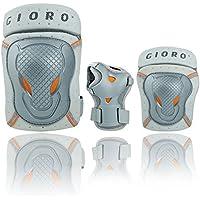 Gioro Adult/Teenager Schutzausrüstung Sets für Skateboarding Skating Skifahren Radfahren Klettern Radfahren BMX Fahrrad Roller, Knieschützer & Ellbogenschützer & Wrist Guard Pads Set 6st