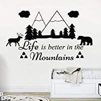 Wall Decals Life is Better in The Mountains Vinyl Stickers Camping Decal Rustic Family Decor Kids Art Decorations Nursery Decor 99 * 57Cm