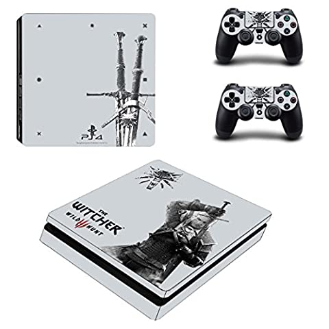 Playstation 4 Slim + 2 Controller Aufkleber Schutzfolien Set - The Witcher (2) /PS4 S