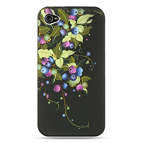 IPHONE? 4S / IPHONE? 4 COMPATIBLE CRYSTAL RUBBER CASE BLACK+BLUEBERRY-IP:CRIP4BKBLB (Case Iphone 4s Carry Für)