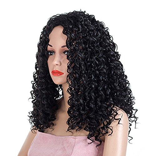 AIYI Frauen Perücken African Black Kleine Volumen Explosion Kopf Schwarz Braun Lange Haare Urlaubsparty Cosplay Weibliche Chemische Faser Perücke Perücke 59 cm * 278G, Black