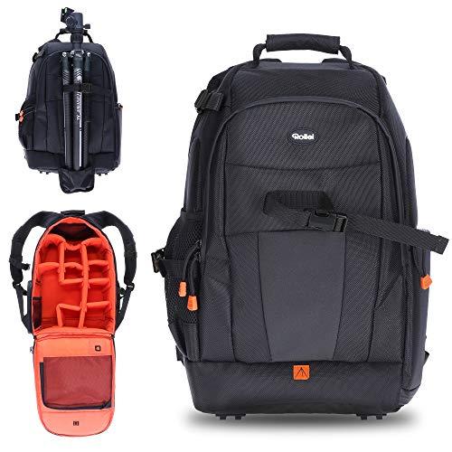 Rollei Fotoliner Fotorucksack M (großer Kamerarucksack (Daypack) mit Schnellzugriff, Laptop-Fach, Regenschutz und Handgepäck tauglichen Maßen) schwarz